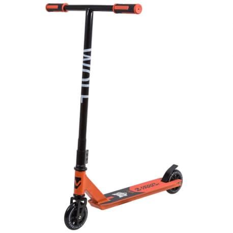 Самокат трюковый NOVATRACK WOLF max 100кг, 110мм. Черно-оранжевый