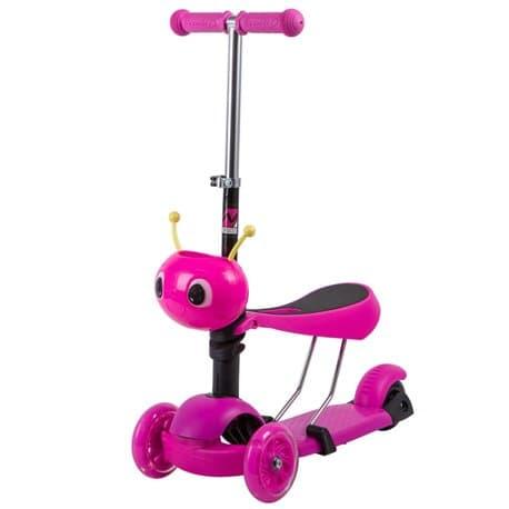Самокат-кикборд NOVATRACK Disco-kids, детский, трансформ., max 25кг, колеса 120*90, Розовый