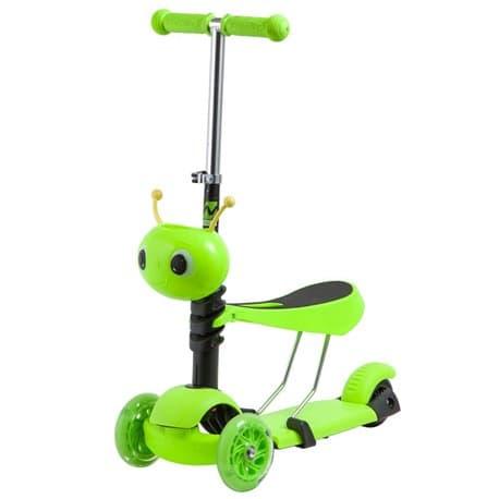 Самокат-кикборд NOVATRACK Disco-kids, детский, трансформ., max 25кг, колеса 120, Зеленый