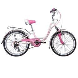 """Велосипед 20"""" NOVATRACK BUTTERFLY 6 скоростей, Белый-розовый"""