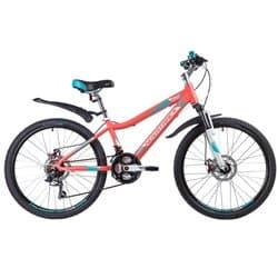 """Велосипед 24"""" NOVATRACK NOVARA 11"""" 18 скоростей, Алюминиевая рама, Коралловый"""