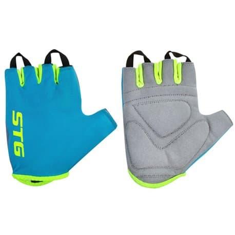 Перчатки вело STG голубой/зеленый S Х74366-С