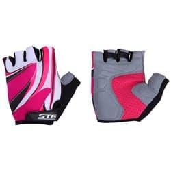 Перчатки вело STG черн. бел. розовый S Х61901-С