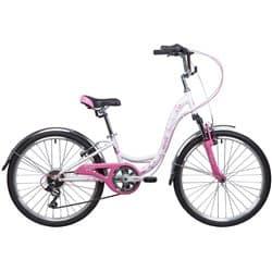 """Велосипед 24"""" NOVATRACK BUTTERFLY 11"""" 6 скор. Бело-розовый"""