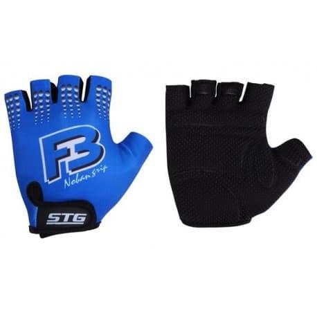 Перчатки STG с защитн. прокл. (кожа+лайкра) син.XL
