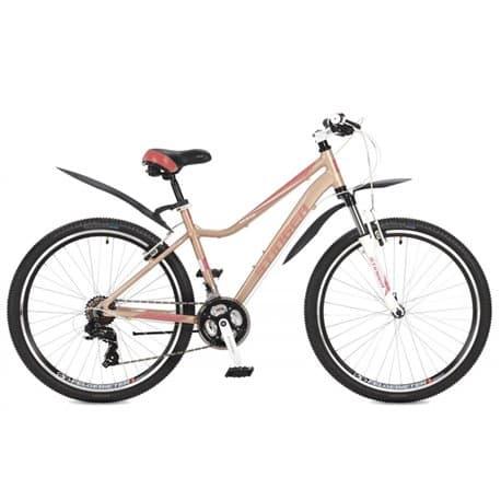 """Велосипед 26"""" STINGER VESTA 26 (2017) с рамой 15"""", алюминиевая рама, 21 скорость, дисковые тормоза, бежевый"""