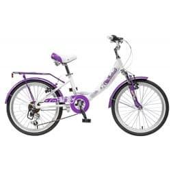 """Велосипед 20"""" NOVATRACK GIRLISH LINE 20 6 (2017) алюминиевый 6 скоростей бело-бордовый, для детей 7-10 лет"""